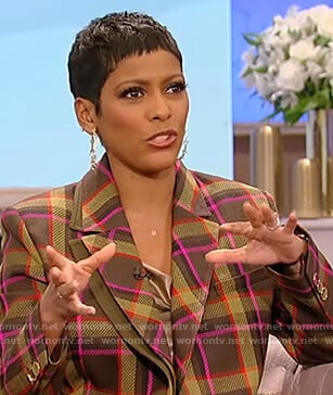 Tamron's green plaid blazer on Tamron Hall Show