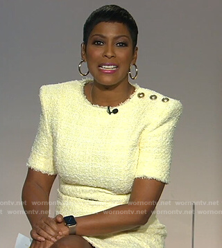 Tamron's yellow tweed mini dress on Tamron Hall Show
