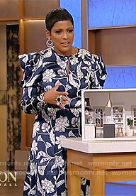 Tamron's blue floral dress on Tamron Hall Show