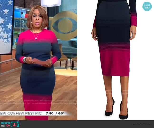 Aria Ombre Knit Pencil Skirt by Tanya Taylor worn by Gayle King  on CBS This Morning
