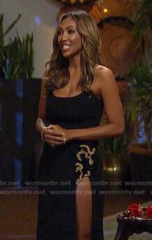 Tayshia's black embellished slit gown on The Bachelorette