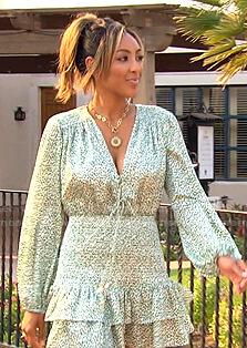 Tayshia's green printed smocked mini dress on The Bachelorette