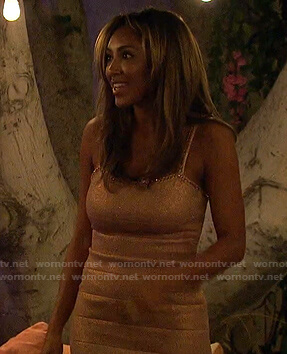 Tayshia's metallic embellished dress on The Bachelorette