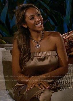 Tayshia's mocha strapless jumpsuit on The Bachelorette