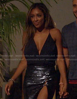 Tayshia's navy top and sequin mini skirt on The Bachelorette