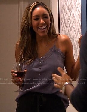 Tayshia's purple lace-trim cami on The Bachelorette