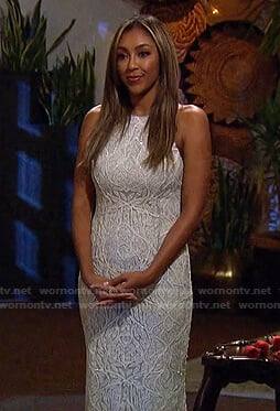 Tayshia's white embellished halter gown on The Bachelorette