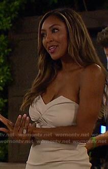 Tayshia's white strapless mini dress on The Bachelorette