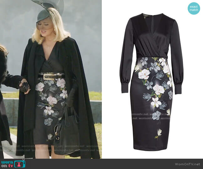 Ted Baker Alithea Opal Dress worn by Margaret Monreaux (Kim Cattrall) on Filthy Rich