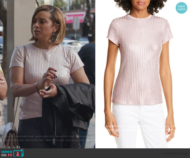 Catrino Metallic Fitted T-Shirt by Ted Baker worn by Robyn Dixon  on The Real Housewives of Potomac