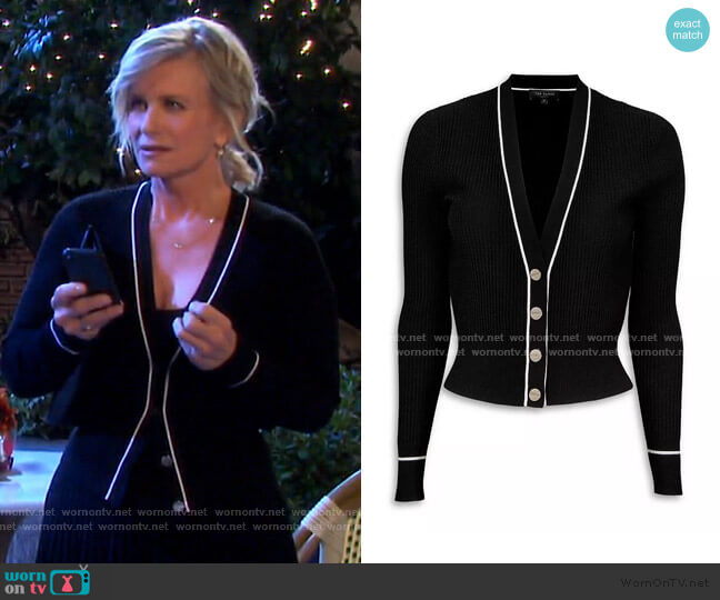 Frankyy Stitch Detail Ribbed Cardigan by Ted Baker worn by Kayla Brady (Mary Beth Evans) on Days of our Lives