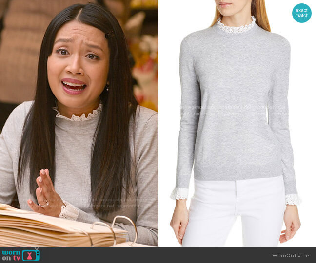 Ted Baker Kaytiie Broderie Lace Collar & Cuff Sweater worn by Liz (Cynthy Wu) on Holidate (2020)