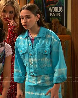 Tess's blue tie dye denim jacket and skirt on Ravens Home