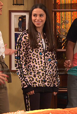 Tess's pink leopard print track jacket and leggings on Ravens Home