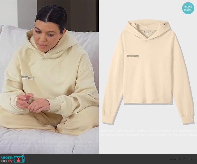 Organic Cotton Loose Hoodie Vanilla by The Pangaia worn by Kourtney Kardashian  on Keeping Up with the Kardashians