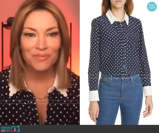 Scalloped Polka Dot Silk Shirt by Tory Burch worn by Kit Hoover  on Access Hollywood