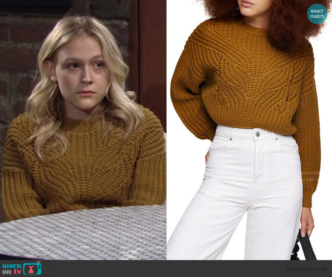 Butterfly Super Crop Sweater by Topshop worn by Faith Newman (Alyvia Alyn Lind) on The Young & the Restless