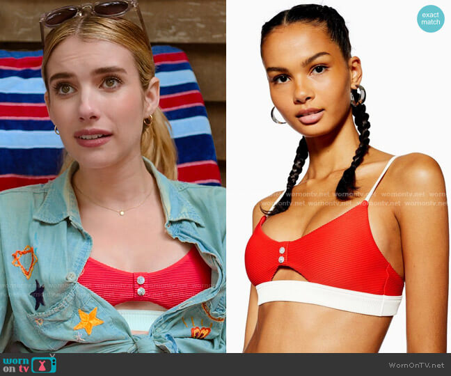Topshop Button Bikini Top with Cutout  worn by Sloan (Emma Roberts) on Holidate (2020)