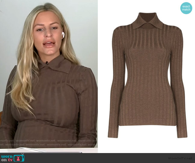Aviles Point-Collar Ribbed Sweater by Toteme worn by Morgan Stewart  on E! News