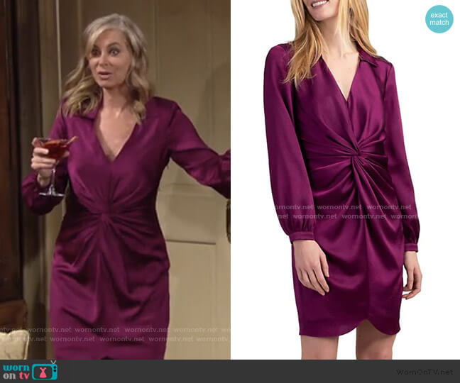 Anne Long-Sleeve Knotted Satin Dress by Trina Turk worn by Ashley Abbott (Eileen Davidson) on The Young & the Restless