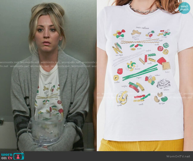 Urban Outfitters Future State Pasta Chart Tee worn by Cassie Bowden (Kaley Cuoco) on The Flight Attendant