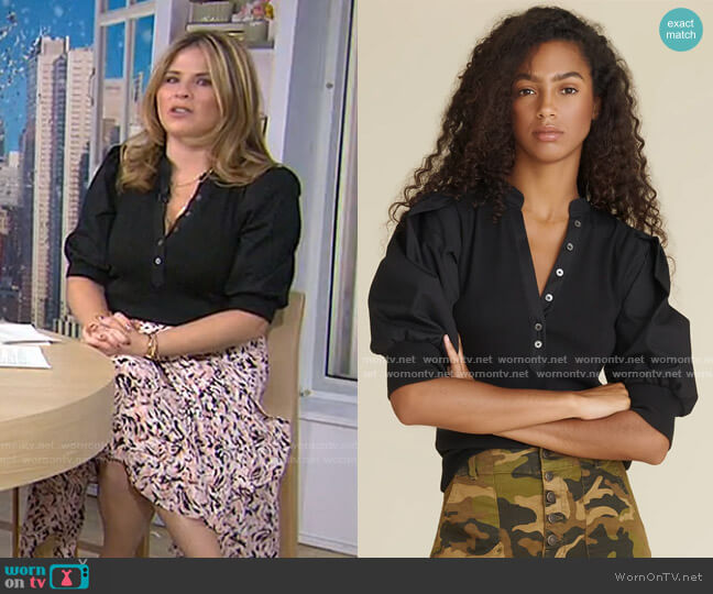 Coralee Puff-Sleeve Top by Veronica Beard worn by Jenna Bush Hager  on Today