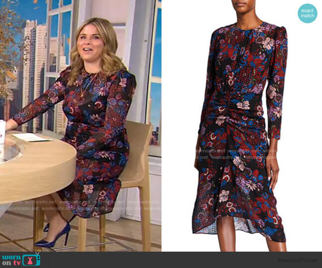 Raylee Ruched Floral Midi Dress by Veronica Beard worn by Jenna Bush Hager  on Today