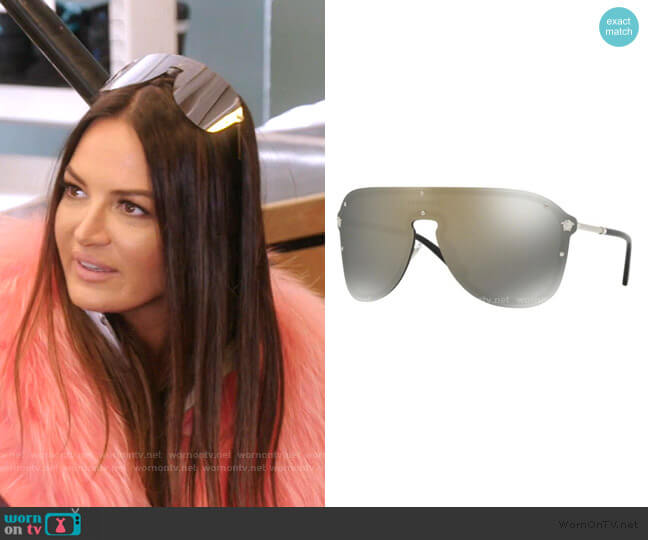 Frenergy Visor Sunglasses by Versace worn by Lisa Barlow  on The Real Housewives of Salt Lake City