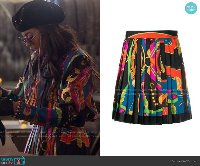 Belt Print Pleated Skirt by Versace worn by Mary Cosby  on The Real Housewives of Salt Lake City