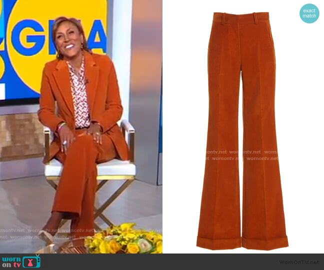 High-Rise Flared Corduroy Pants by Victoria Beckham worn by Robin Roberts  on Good Morning America