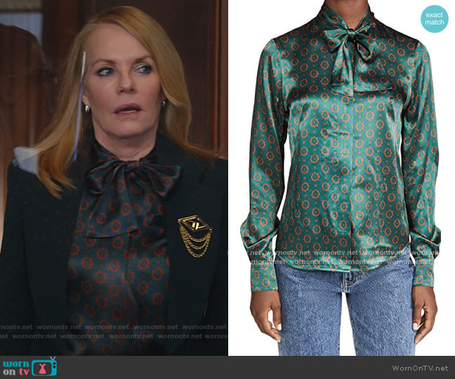 Tie Neck Silk Shirt by Victoria Beckham worn by Lisa Benner (Marg Helgenberger) on All Rise