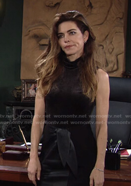 Victoria's black velvet sleeveless top and tie waist skirt on The Young and the Restless