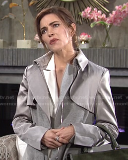 Victoria's grey satin-sleeve trench coat on The Young and the Restless