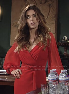 Victoria's red long sleeve wrap dress on The Young and the Restless