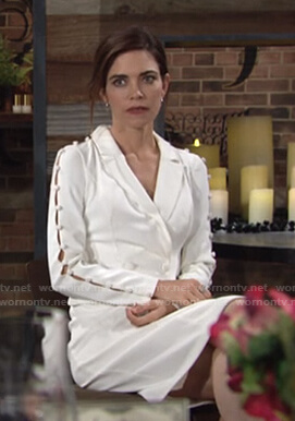 Victoria's white button embellished blazer dress on The Young and the Restless