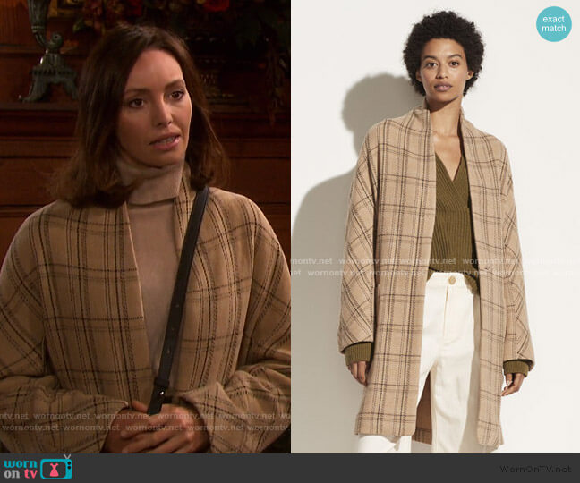 Plaid Collarless Coat by Vince worn by Gwen Rizczech (Emily O'Brien) on Days of our Lives