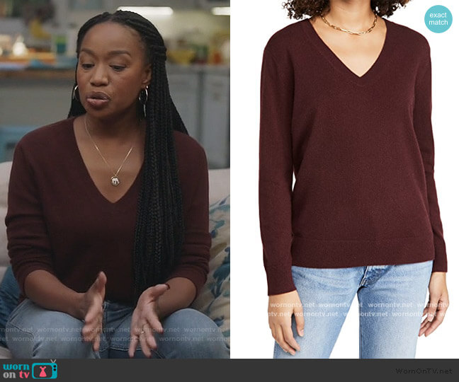 Weekend V-Neck Cashmere Sweater by Vince worn by Michelle (Maya Lynne Robinson) on The Unicorn