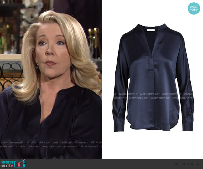 Band Collar Blouse by Vince worn by Nikki Reed Newman (Melody Thomas-Scott) on The Young & the Restless
