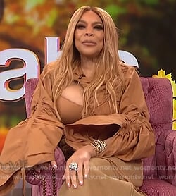 Wendy's beige cut out blouse on The Wendy Williams Show