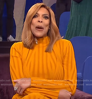Wendy's orange ribbed dress on The Wendy Williams Show
