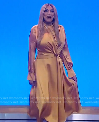 Wendy's yellow satin twisted dress on The Wendy Williams Show