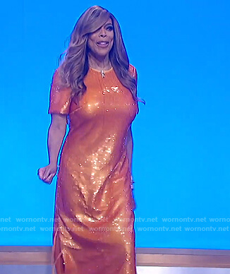 Wendy's orange sequin embellished dress on The Wendy Williams Show
