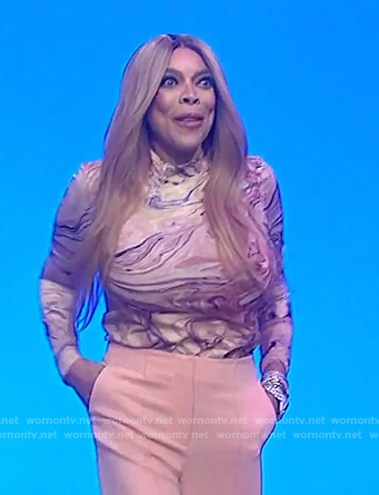 Wendy's marble print top on The Wendy Williams Show
