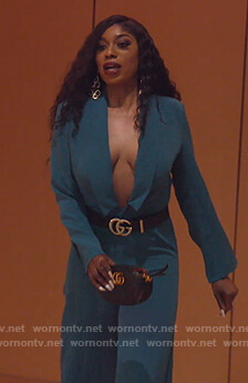 Wendy's teal blazer jumpsuit on The Real Housewives of Potomac