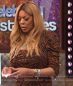 Wendy's brown animal stripe dress on The Wendy Williams Show
