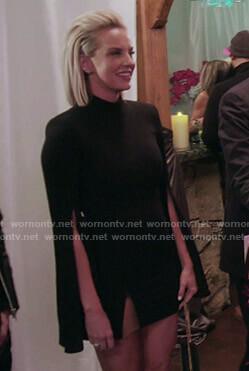 Whitney's black slit-sleeve mini dress on The Real Housewives of Salt Lake City