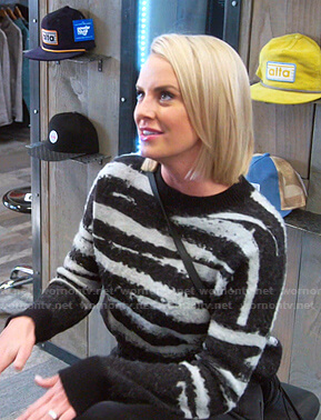 Whitney's black and grey striped sweater on The Real Housewives of Salt Lake City