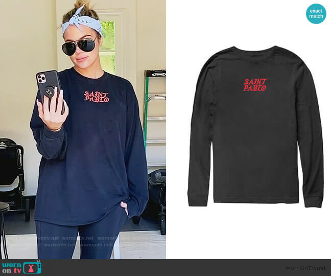 Kim Tennis Black Long Sleeve T-Shirt by Yeezy worn by Khloe Kardashian  on Keeping Up with the Kardashians