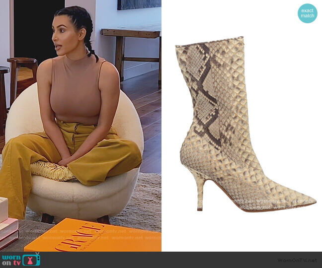 Ankle Python Boots by Yeezy worn by Kim Kardashian  on Keeping Up with the Kardashians