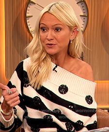 Zanna Roberts white stripe embellished sweater on The Drew Barrymore Show